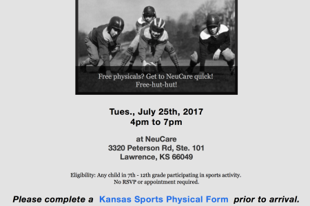 sports physical form kansas  FREE Sports Physicals Courtesy of Dr Neu of NeuCare